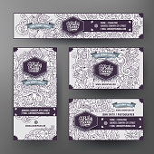 Corporate Identity templates set with doodles baby theme