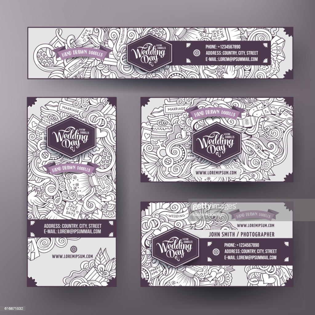 Corporate Identity templates set with doodles Wedding theme