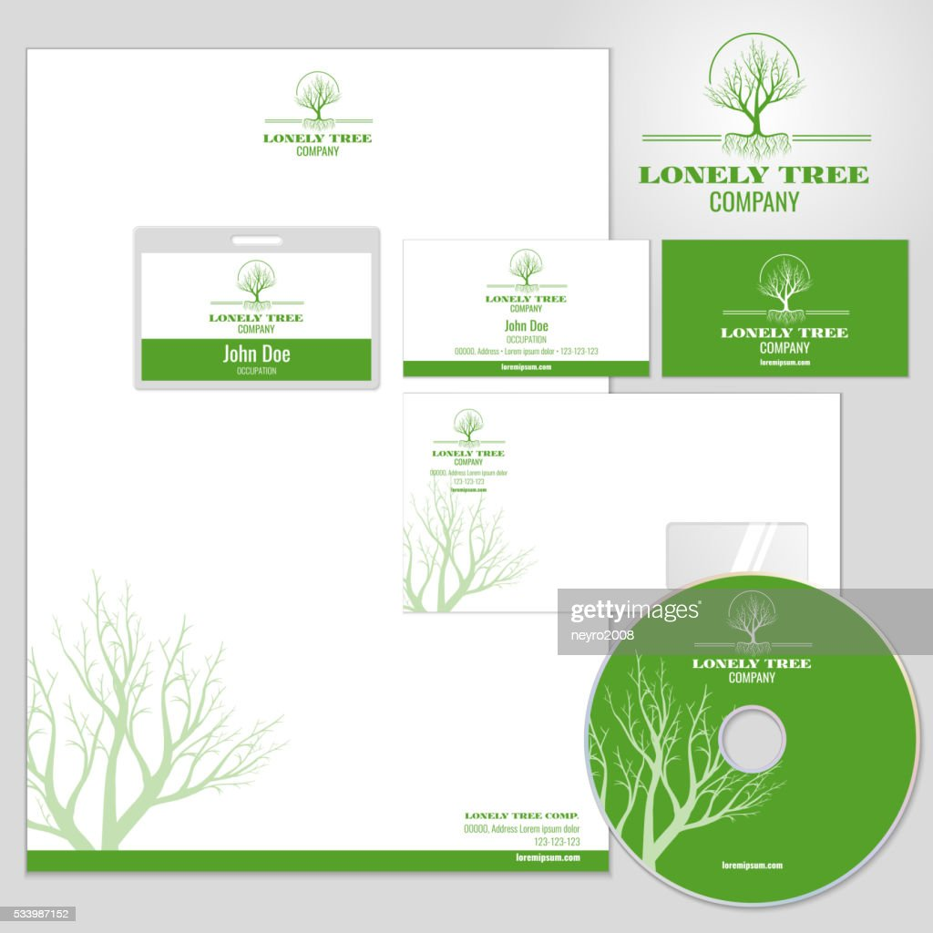 Corporate identity vector mockup template with tree logo