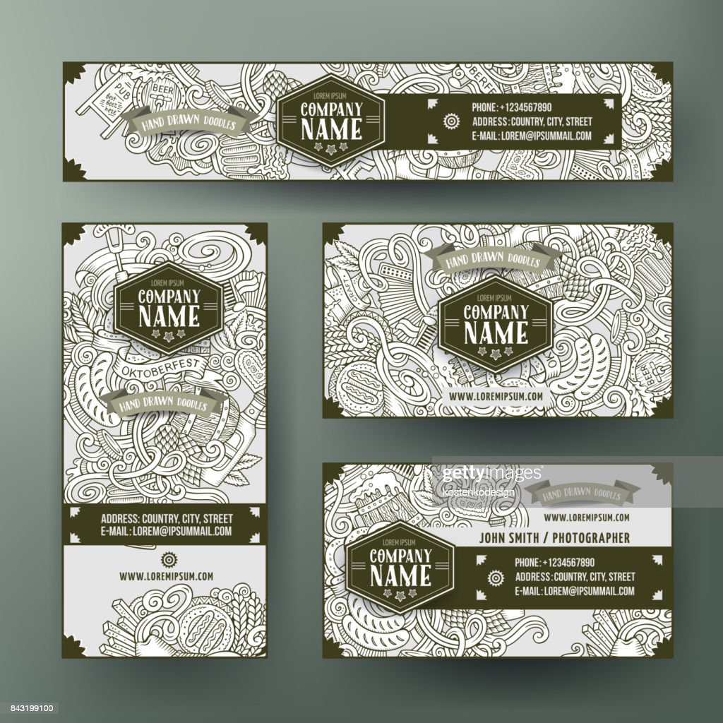 Corporate Identity vector templates set design with doodles hand drawn Octoberfest theme