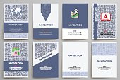 Corporate identity vector templates set with doodles navigation theme