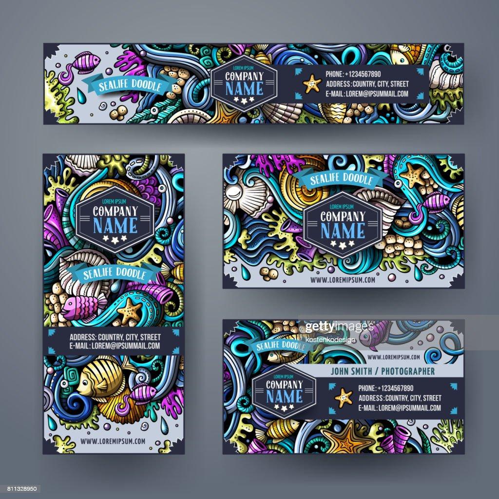 Corporate Identity vector underwater lif templates set