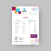 Corporate invoice or estimate template with colorful abstract design.