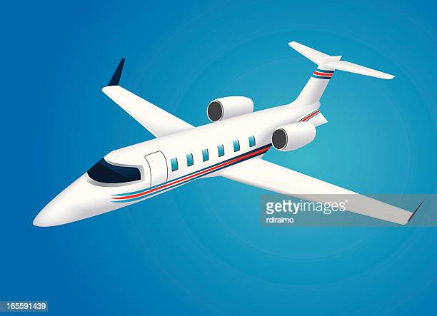 corporate jet - private aeroplane stock illustrations