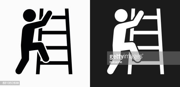 corporate ladder icon on black and white vector backgrounds - ladder stock illustrations, clip art, cartoons, & icons