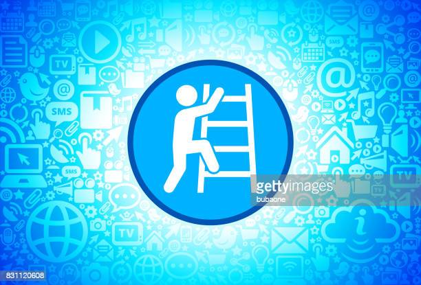 Corporate Ladder  Icon on Internet Technology Background