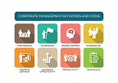 Corporate Management Flat Icon Set