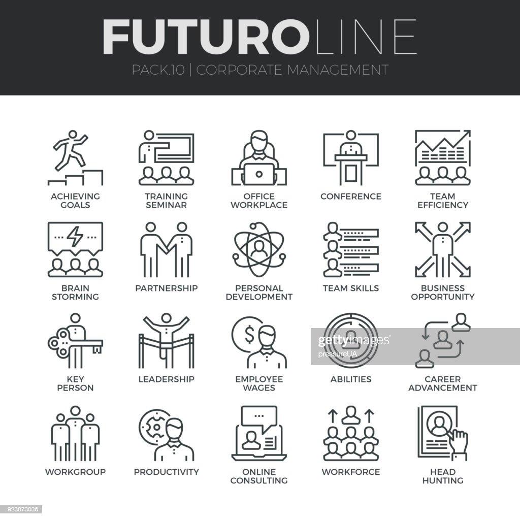 Corporate Management Futuro Line Icons Set