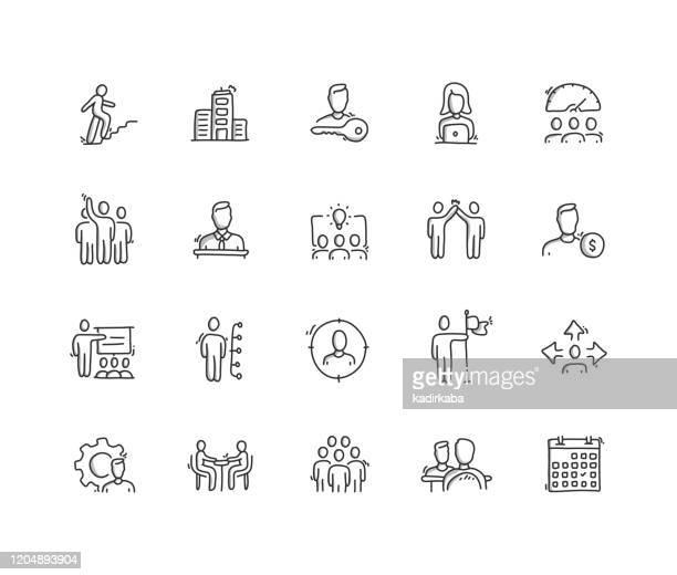 illustrations, cliparts, dessins animés et icônes de ensemble d'icônes de ligne de dessin de main de gestion d'entreprise - personnes masculines
