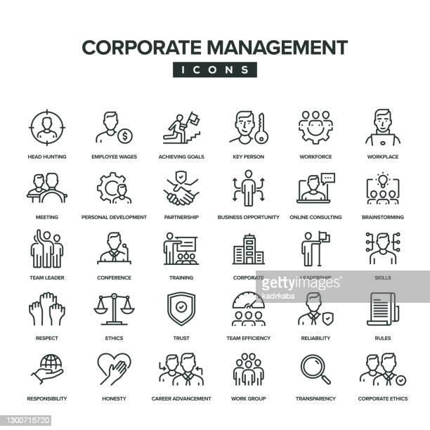 ilustrações, clipart, desenhos animados e ícones de conjunto de ícones da linha de gerenciamento corporativo - respeito