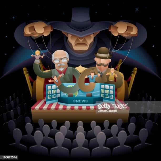 ilustraciones, imágenes clip art, dibujos animados e iconos de stock de corporate medios de la conspiración - puppet