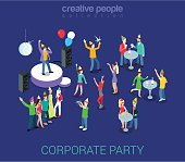 Corporate party holiday event team building flat 3d web isometric infographic human relations HR concept vector template. Group young men girls dancing. Creative people world collection.