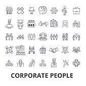 Corporate people, corporate identity, business, train, corporate event, office line icons. Editable strokes. Flat design vector illustration symbol concept. Linear signs isolated
