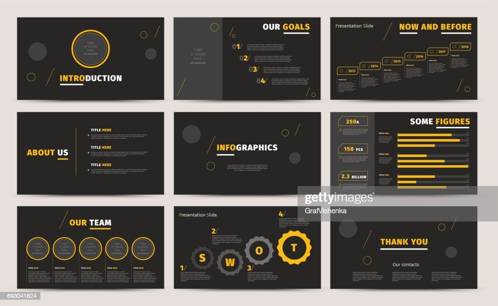Corporate presentation slides design. Creative business proposal or annual report. Full HD vector keynote infographics template on black layout. Startup project advertising brochure