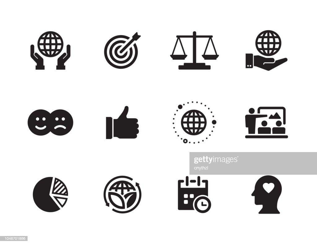 Conjunto de ícones de Responsabilidade Social Corporativa : Ilustração