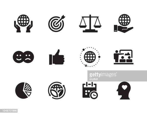 corporate social responsibility icon set - social issues stock illustrations