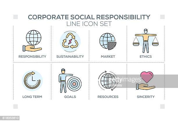 Corporate Social Responsibility keywords with line icons