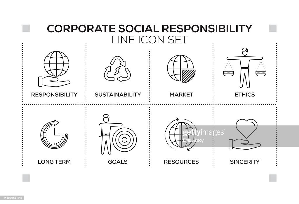 Corporate Social Responsibility keywords with monochrome line icons