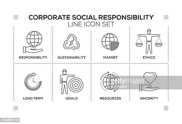 illustrations, cliparts, dessins animés et icônes de corporate social responsibility keywords with monochrome line icons - culture d'entreprise