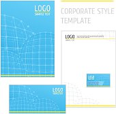 Corporate style template grid blue
