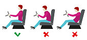 Correct and bad sitting postures for driver. Vector infographics