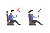 Correct and Incorrect Driving Position Flat Set. Vector