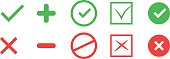 Correct and incorrect icons. True and false signs. Vector