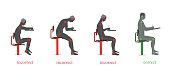 correct and incorrect posture when writing. vector illustration