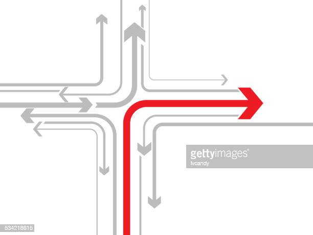 correct direction - road junction stock illustrations