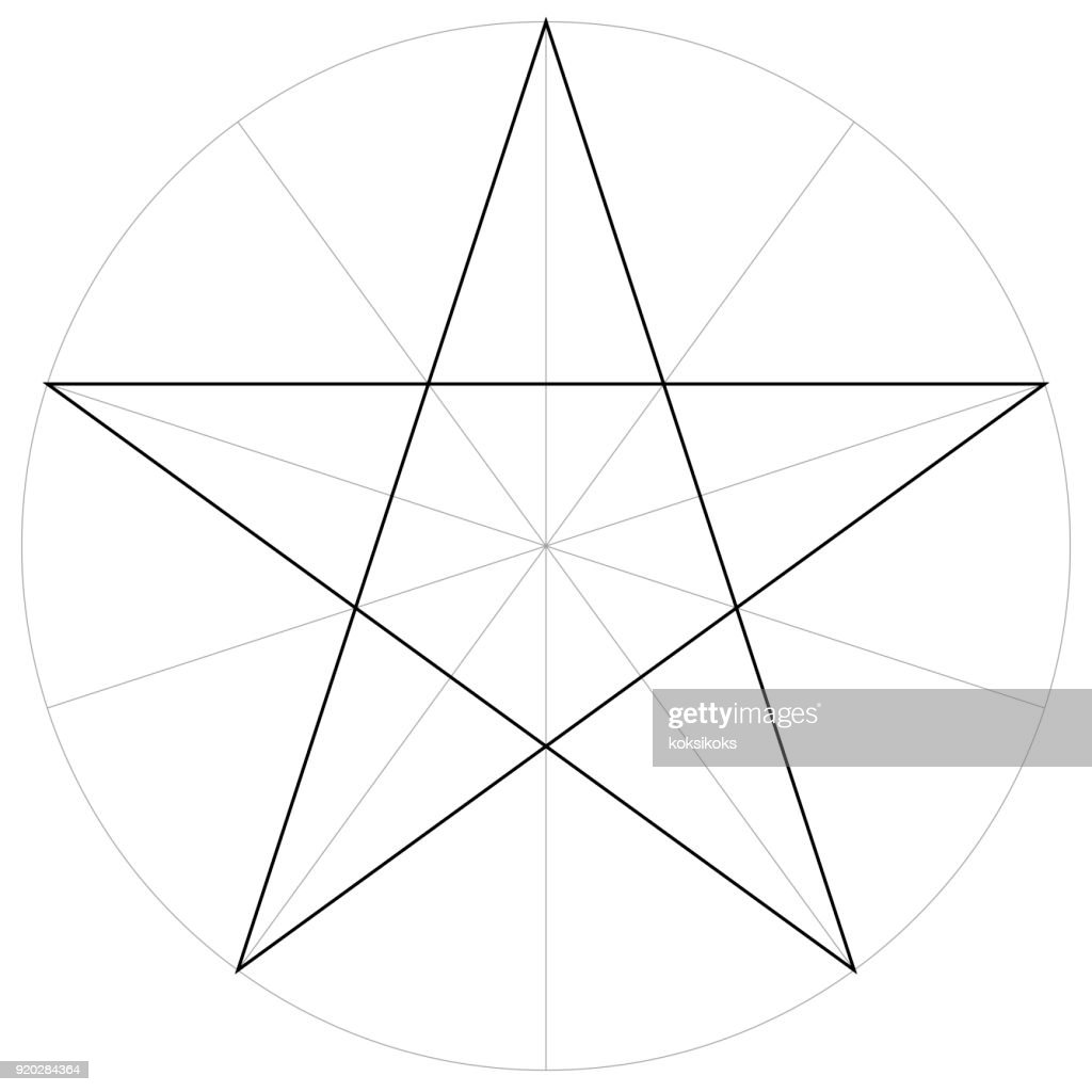correct form shape template geometric shape of the pentagram five pointed star, vector drawing the pentagram in a circle by sector, template