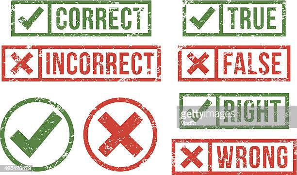 correct, incorrect rubber stamps - check mark stock illustrations