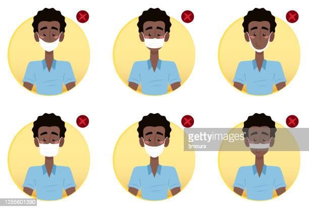 ilustrações, clipart, desenhos animados e ícones de correto uso indevido da máscara protetora para reduzir a contaminação do covídeo - mascara