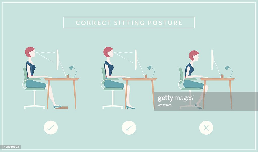Correct Sitting Positions : Vector Art