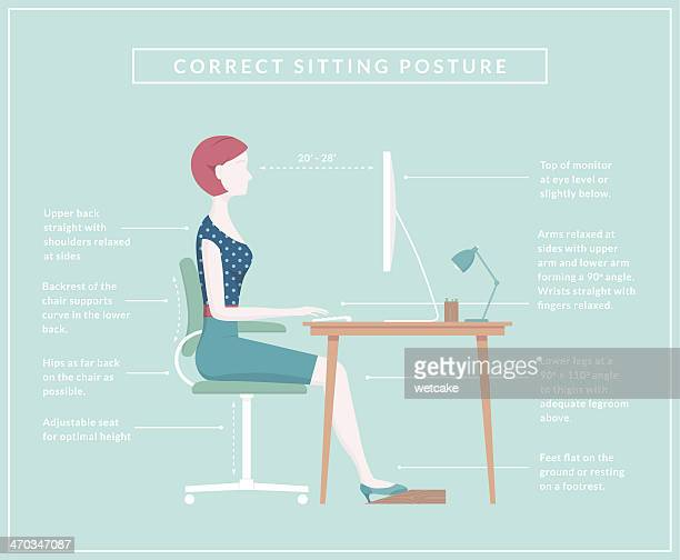 correct sitting posture - diagram - sitting stock illustrations