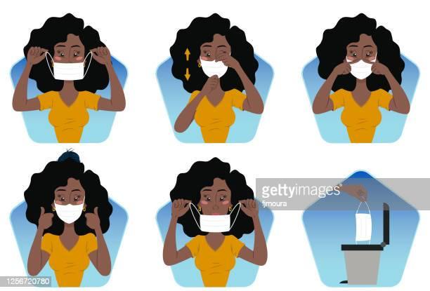 illustrazioni stock, clip art, cartoni animati e icone di tendenza di corretto uso della maschera contro covid-19 - mostrare