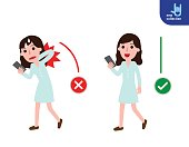 Correct walking posture And incorrect Young woman holding mobile. Disease back pain. Medical healthcare concept. Vector flat icon cartoon design illustration.