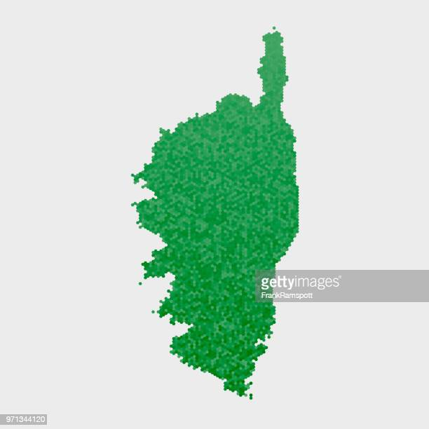 corse country map green hexagon pattern - corsica stock illustrations, clip art, cartoons, & icons