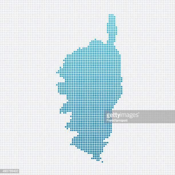 corse map blue dot pattern - corsica stock illustrations, clip art, cartoons, & icons