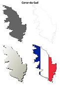 Corse-du-Sud, Corsica outline map set