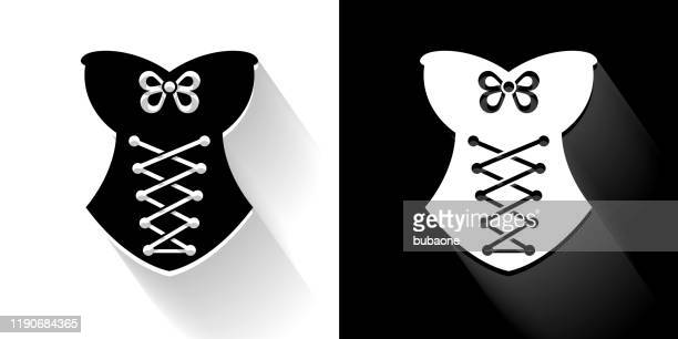 corset  black and white icon with long shadow - en búsqueda stock illustrations