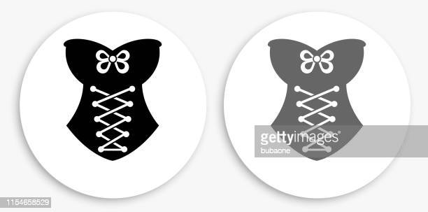 corset black and white round icon - en búsqueda stock illustrations