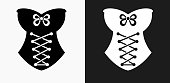 Corset Icon on Black and White Vector Backgrounds