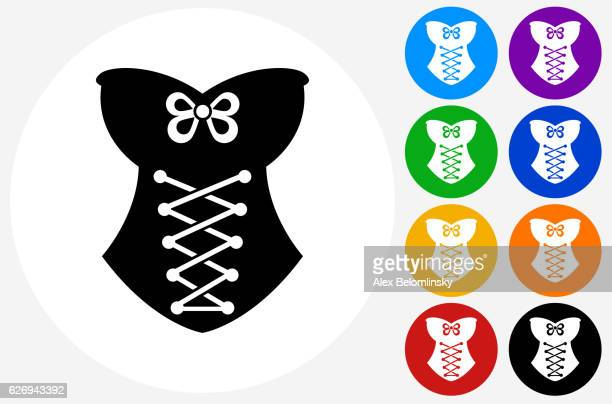 Corset Icon on Flat Color Circle Buttons