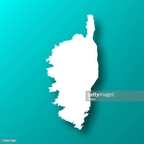 corsica map on blue green background with shadow - corsica stock illustrations