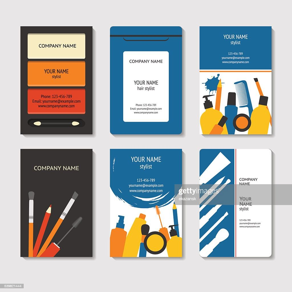 Cosmetic and beauty business cards set