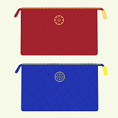 Cosmetic bag in red and blue colors