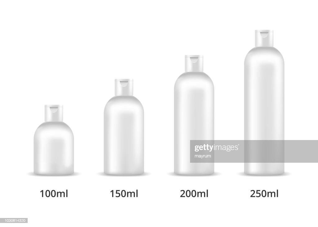 Cosmetic bottles 100ml, 150ml, 200ml, 250ml. Mock up, cosmetic package