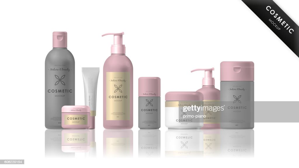 Cosmetic brand template. Realistic bottle set.