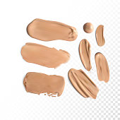 Cosmetic concealer smear strokes, tone cream smudged Vector