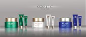 Cosmetic cream package set, attractive blank containers with colorful caps. 3d illustration for makeup promo